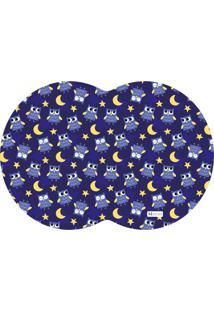 Tapete Pet Mdecore Geométrico Coruja Azul Marinho 54X39Cm