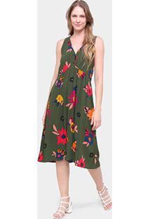 Vestido Longo Cantão Florida Gola V Feminino - Feminino-Colorido