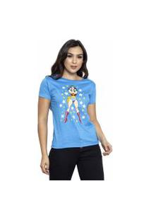 Camiseta Sideway Mulher Maravilha - Azul
