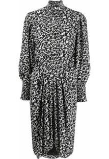 Isabel Marant Étoile Vestido Midi Siloe Estampado - Preto