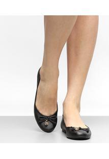 Sapatilha Shoestock Bico Redondo Medalha Feminina - Feminino-Preto