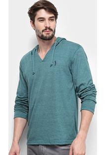 Camiseta Aleatory Manga Longa Capuz Masculina - Masculino-Verde