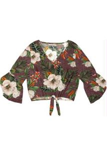 Blusa Feminina Estampa Floral Endless Roxo
