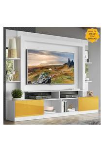 "Rack C/ Painel Tv 65"" Prateleiras C/ Espelho Oslo Multimóveis Branco/Amarelo"