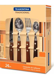 Conjunto De Talheres Inox 24 Peças Tradicional-Tramontina - Marrom Escuro