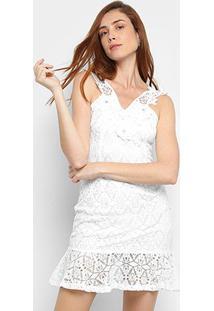 Vestido Jolie Curto Renda Guipir Apliques - Feminino-Branco