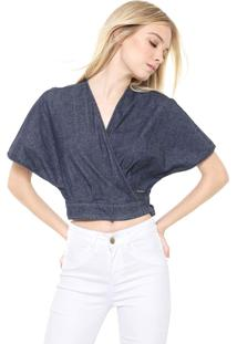 Blusa Cropped Jeans Colcci Transpassada Azul