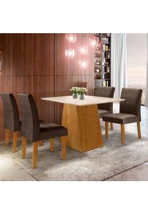 Conjunto De Mesa De Jantar Sevilha Com 4 Cadeiras Classic Ll Suede Off White E Marrom