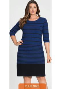 Vestido Malha Canelado Tracy Azul