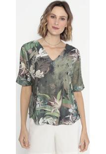 Blusa Folhagens Com Recortes- Verde & Marrom- Cottoncotton Colors Extra