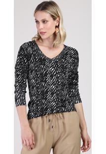 Suéter Feminino Estampado Animal Print Zebra Em Tricô Decote V Preto