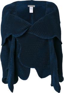 Issey Miyake Jaqueta Assimétrica Com Pregas - Azul
