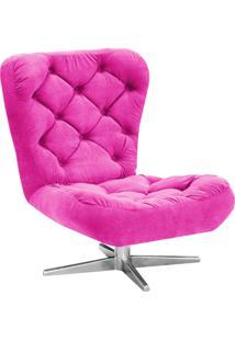 Poltrona Decorativa Botonê Iris Suede Pink Com Base Estrela Giratória Aço Cromado - D'Rossi