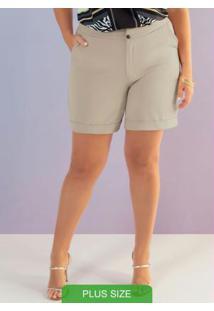 Shorts Em Tecido Compacto Bege
