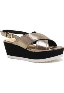 Sandália Zariff Shoes Plataforma Metalizada - Feminino-Dourado