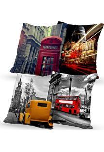 Kit 4 Capas De Almofadas Decorativas Own Londres Cartões Postais 45X45 - Somente Capa