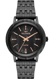 Relógio Technos Fashion Unique 203Aae/4P 40Mm Aço Feminino - Feminino-Preto