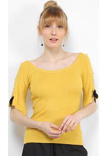 Blusa Lily Fashion Tricot Pérolas Feminina - Feminino-Amarelo