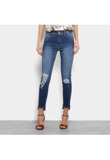 Calça Jeans Cigarrete Marisa Puídos Cintura Média Feminina - Feminino-Azul Escuro