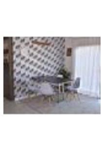 Conjunto De Mesa Dobrável Retrátil 1,40 Preto/Noronha Inox + 4 Cadeiras Eiffel - Branca
