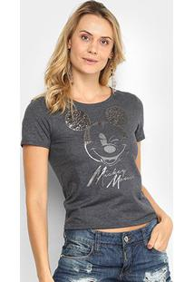 Blusa Cativa Disney Mickey Mouse Feminina - Feminino-Mescla Escuro