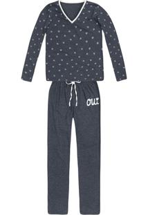 Pijama Feminino Em Malha De Algodão Estampado Em Outros Tamanhos