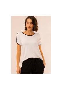 Blusa Em Malha Viscose Com Vivo Contrastante Cor Off White Paloma Concept 1345