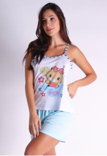 Pijama Curto Alcinha Bravaa Modas Baby Doll Short Blusinha 139 Azul Claro