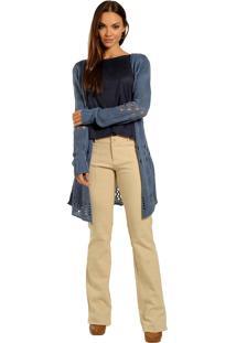 Casaco Manga Longa, Tricot Alongado, Lindo - Ótimo Preço Azul Jeans