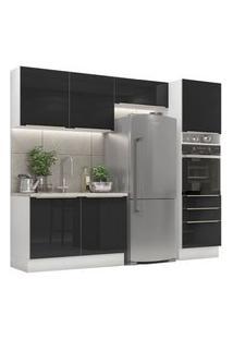 Cozinha Completa Madesa Lux 260005 Com Armário E Balcão Branco/Preto Cor:Branco/Preto