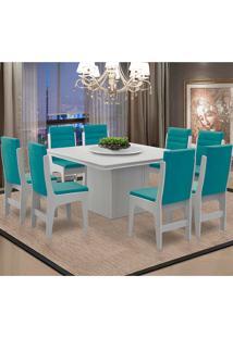 Conjunto De Mesa Para Sala De Jantar Com 8 Cadeiras - Amsterdam - Dobuê - Branco / Turquesa