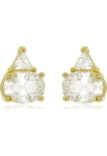 Brinco Tókio Cristal Di Capri Semi Jóias X Ouro Dourado