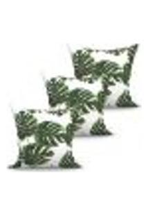Conjunto De Capas Para Almofada Com 3 Peças Folhas Verde E Branco 45X45 Cm