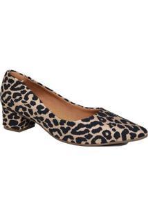 Sapato Scarpin Zariff Salto Grosso Animal Print Feminino - Feminino-Marrom