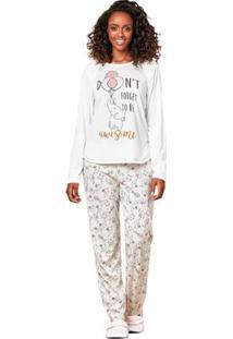 Pijama Longo Feminino Luna Cuore - Feminino-Off White