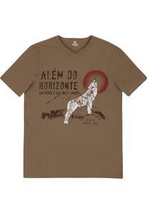 Camiseta Masculina Slim Em Malha De Algodão Com Estampa Frontal