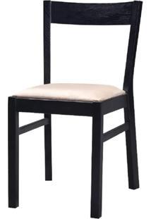 Cadeira Savannah Fixa Carvalho Preto Com Fendi