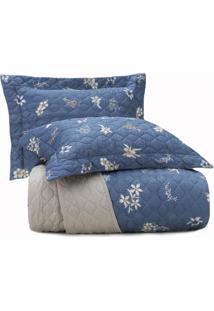 Jogo De Colcha Casal Altenburg Cetim 300 Fios 100% Algodão Flower Glam - Azul Azul