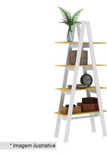 Estante Escada- Branca & Amarela- 180,4X77X33Cm-Movel Bento