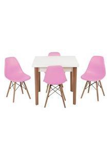 Conjunto Mesa De Jantar Luiza 80Cm Branca Com 4 Cadeiras Eames Eiffel - Rosa