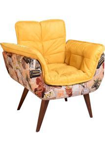 Poltrona Decorativa Opalla Iii Suede Amarelo
