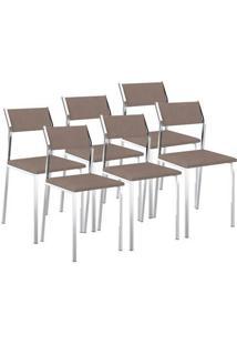Cadeira 1709 Cromada 06 Unidades Camurça Conhaque Carraro