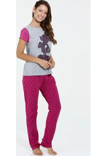Pijama Feminino Manga Curta Estampa Mickey Brilho Disney