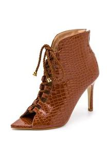 Sandália Bota Ankle Boot Croco Salto Alto Feminina Confortável