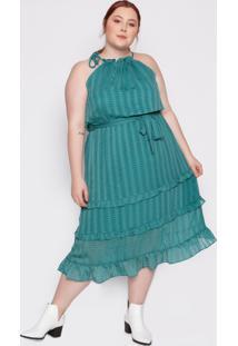 Vestido Almaria Plus Size Kayla Sines Chiffon Verde