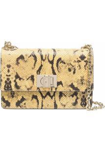 Furla Snakeskin-Print Shoulder Bag - Amarelo