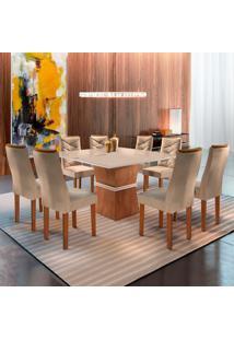 Conjunto De Mesa De Jantar Com 8 Cadeiras Riviera L Suede Off White E Bege