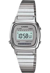 Relógio Casio Vintage Digital La670Wa Feminino - Feminino-Prata