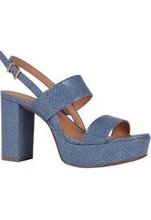 Sandália Couro Jeans Jorge Bischoff Náutico Feminina - Feminino-Azul