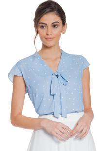 Blusa Principessa Jessica Azul De Poá
